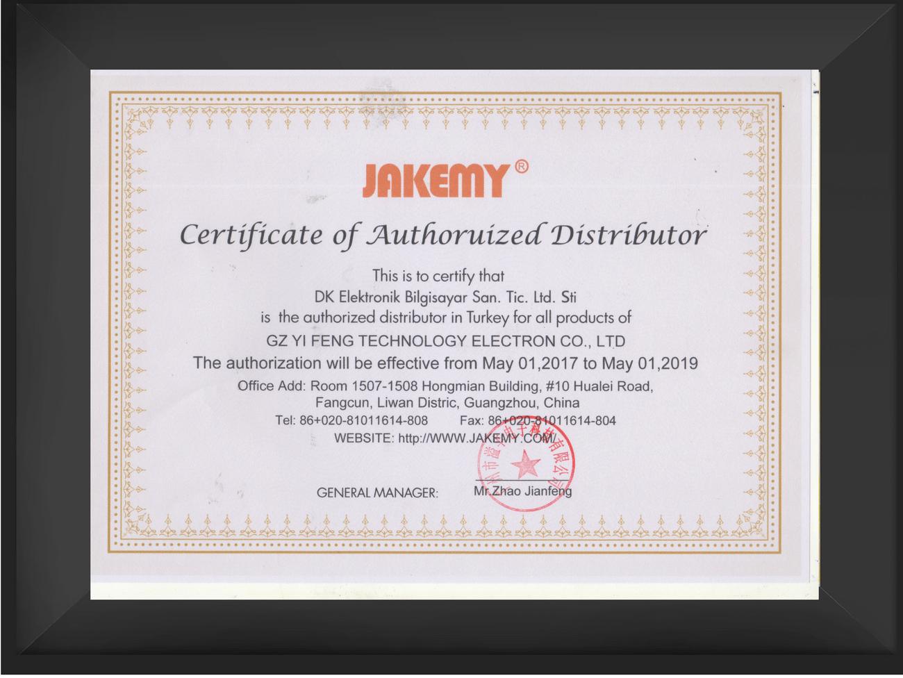 Jakemy Distribütör Sertifikası